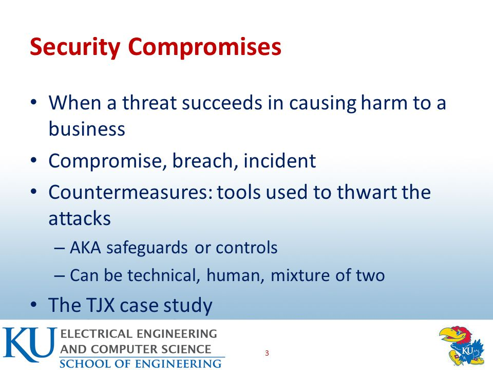 Countermeasure Types Preventative: keeps attacks from happening (most controls) Detective: indentify when a threat is attacking and when it is succeeding Corrective: get the business back on track after a compromise 4