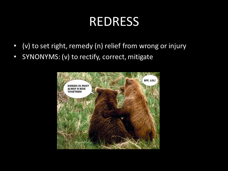REDRESS (v) to set right, remedy (n) relief from wrong or injury SYNONYMS: (v) to rectify, correct, mitigate