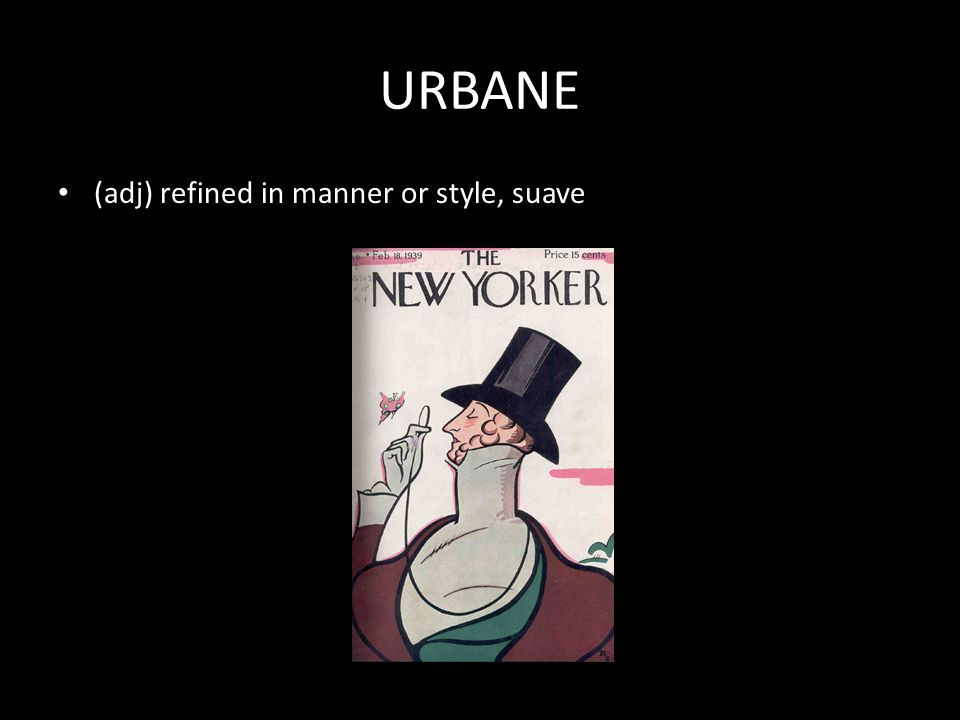 URBANE (adj) refined in manner or style, suave