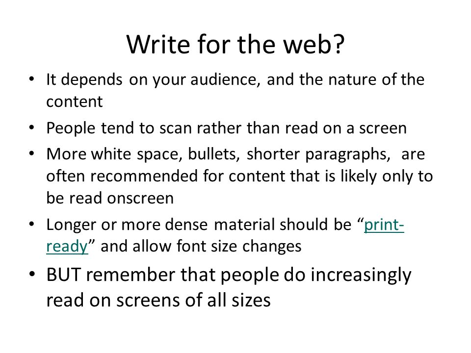 Write for the web.