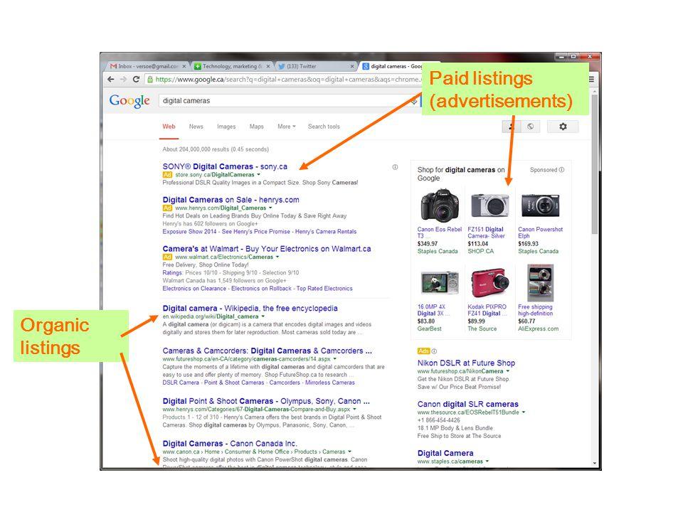 Paid listings (advertisements) Organic listings