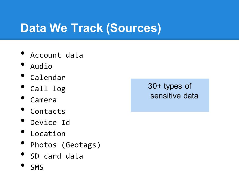 Data We Track (Sources) Account data Audio Calendar Call log Camera Contacts Device Id Location Photos (Geotags) SD card data SMS 30+ types of sensiti
