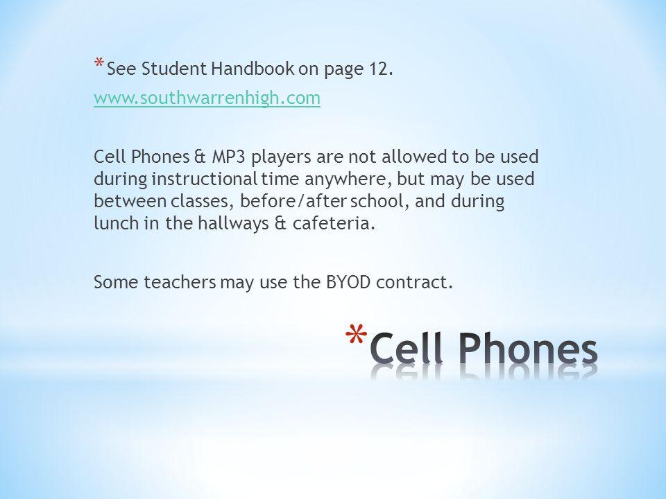 * See Student Handbook on page 12.