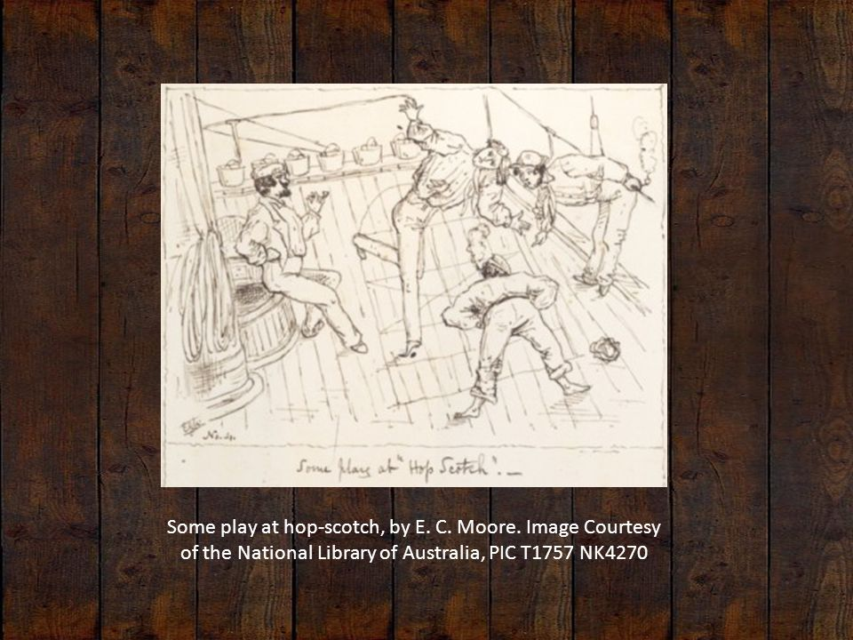 Some play at hop-scotch, by E. C. Moore. Image Courtesy of the National Library of Australia, PIC T1757 NK4270