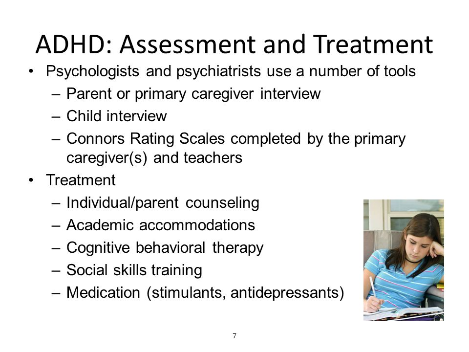 ADHD: Interventions I Inattention –Only give one direction at a time and only when in direct proximity with the child –Develop self-talk messages ( Get back on track! ) Hyperactivity –Provide structured physical activity –Provide transition cues Cue to use calming techniques –Soup breathing (inhale 3 seconds/exhale 6 seconds) –Tactile objects (touch a soft object) –Centering (brings knees to chest)