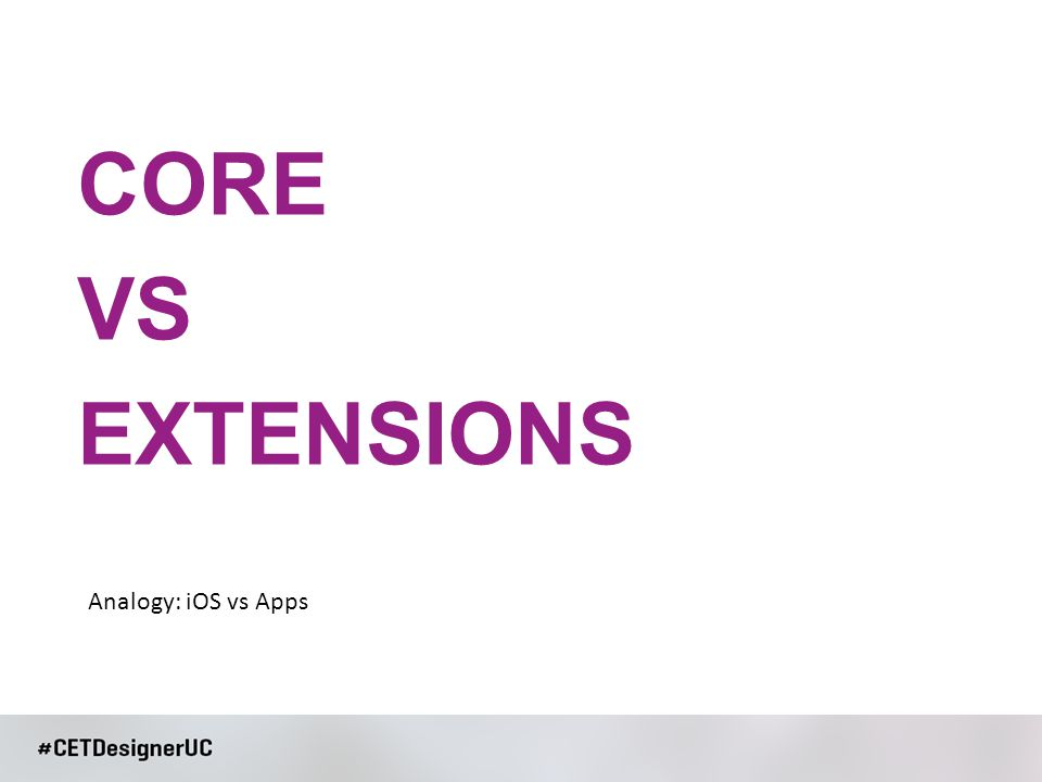 CORE VS EXTENSIONS Analogy: iOS vs Apps