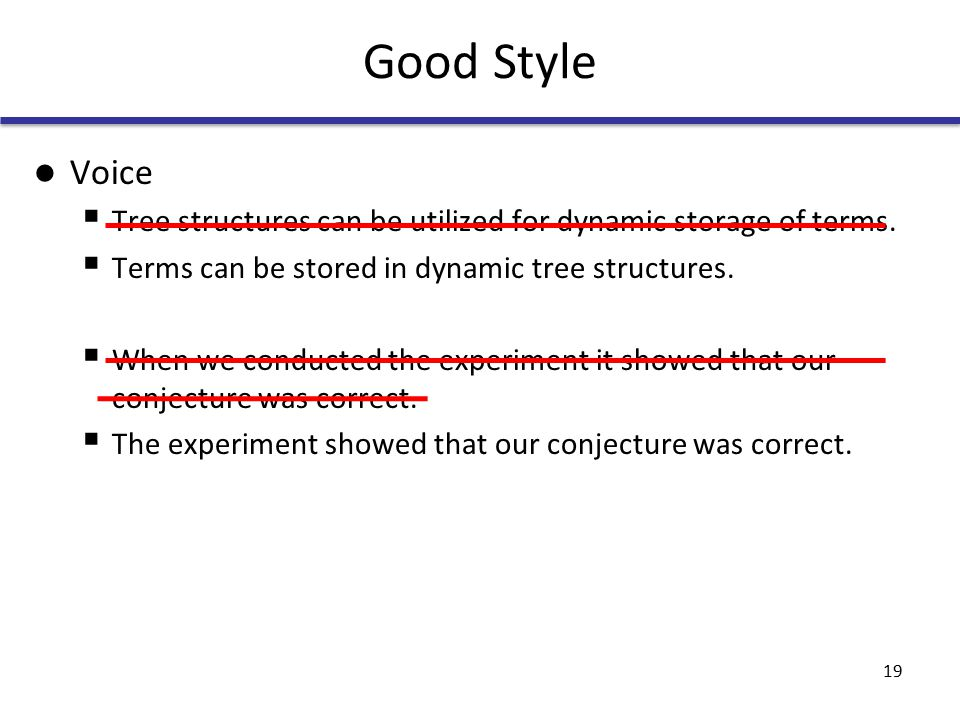 Good Style Voice  Tree structures can be utilized for dynamic storage of terms.
