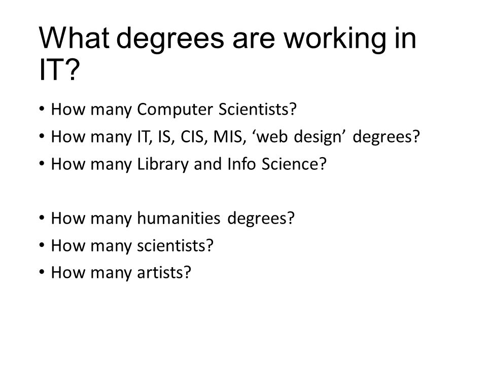 What degrees are working in IT.How many Computer Scientists.
