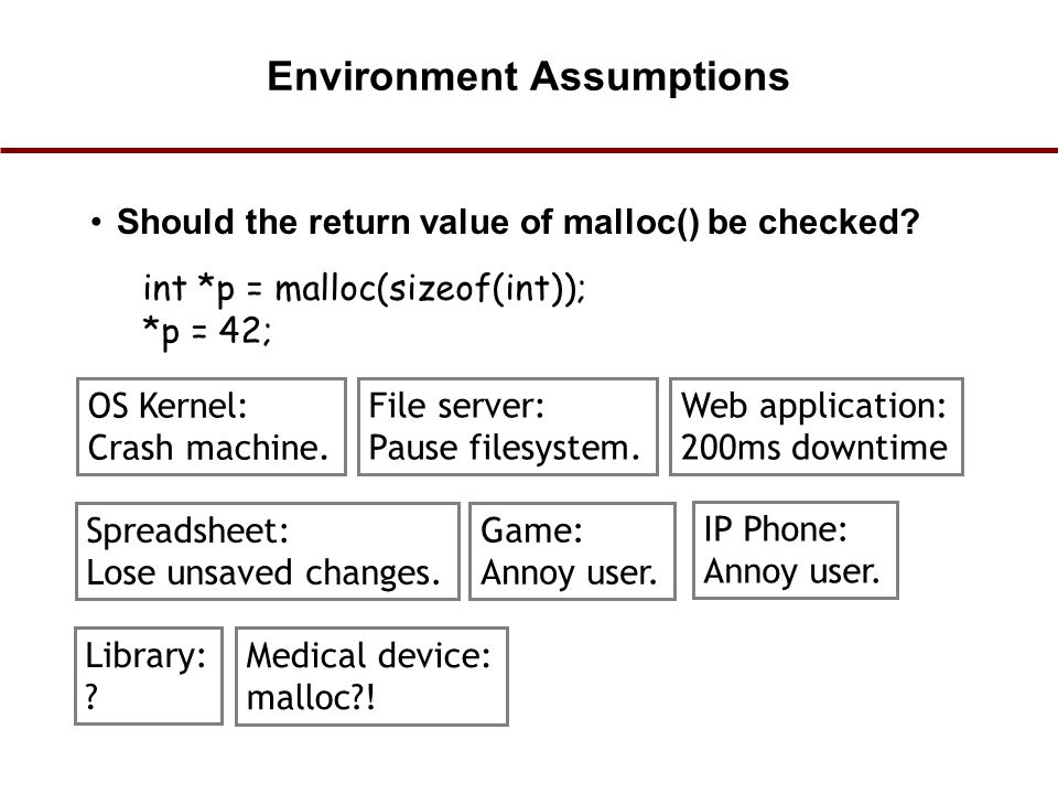 Environment Assumptions Should the return value of malloc() be checked? int *p = malloc(sizeof(int)); *p = 42; OS Kernel: Crash machine. File server: