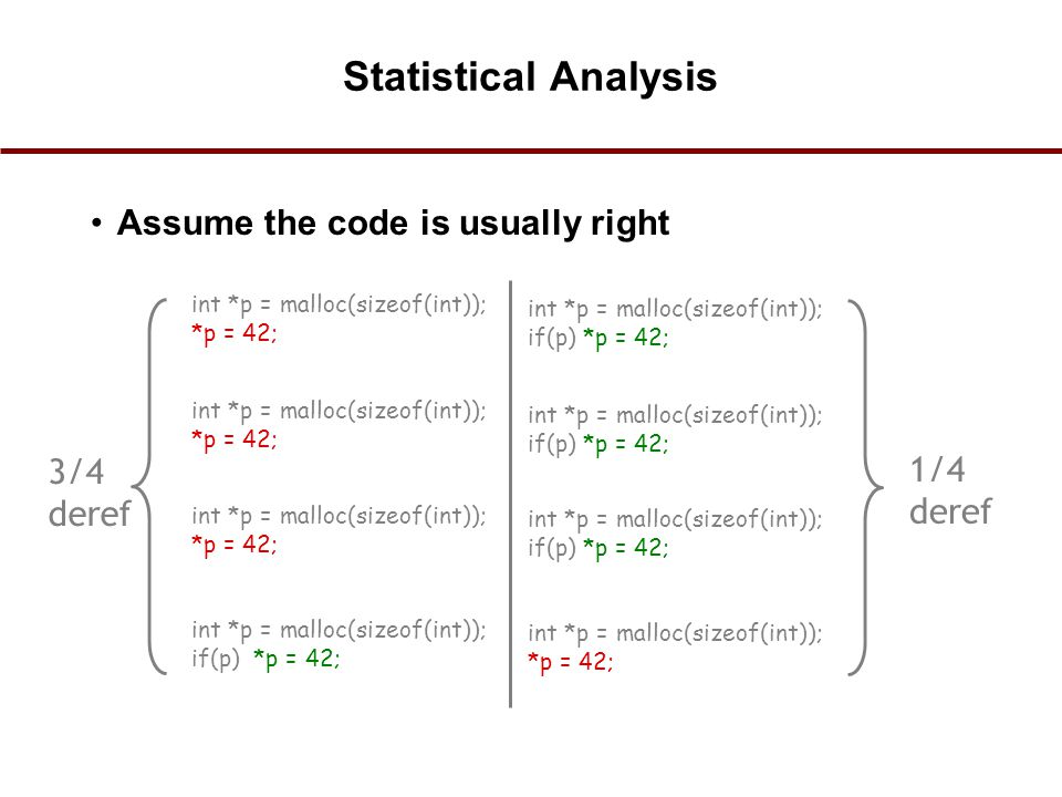 Statistical Analysis Assume the code is usually right int *p = malloc(sizeof(int)); *p = 42; int *p = malloc(sizeof(int)); if(p) *p = 42; int *p = mal