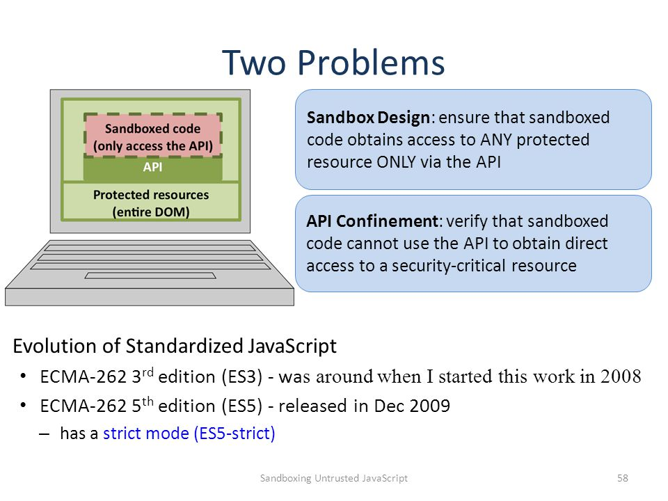 Two Problems Sandboxing Untrusted JavaScript58 Sandbox Design: ensure that sandboxed code obtains access to ANY protected resource ONLY via the API API Confinement: verify that sandboxed code cannot use the API to obtain direct access to a security-critical resource Evolution of Standardized JavaScript ECMA-262 3 rd edition (ES3) - wa s around when I started this work in 2008 ECMA-262 5 th edition (ES5) - released in Dec 2009 – has a strict mode (ES5-strict)