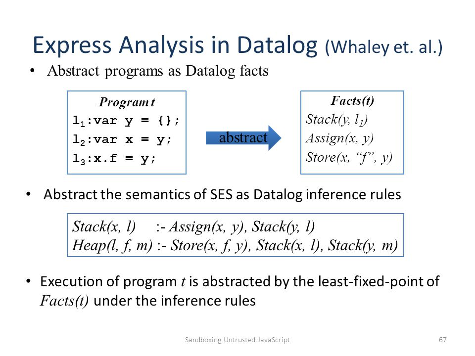 Express Analysis in Datalog (Whaley et.