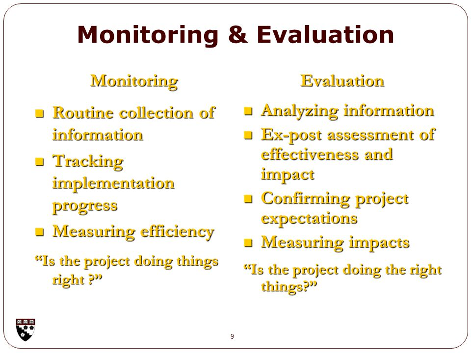 Monitoring & Evaluation 9