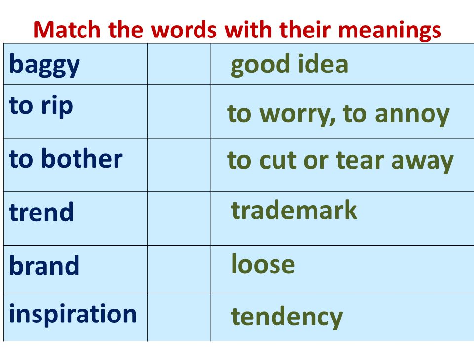 Match the words with their meanings baggy to rip to bother trend brand inspiration good idea to cut or tear away to worry, to annoy trademark loose tendency