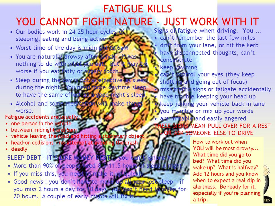 Transportation Tuesday FATIGUE KILLS YOU CANNOT FIGHT NATURE - JUST WORK WITH IT Our bodies work in 24-25 hour cycles of sleeping, eating and being active Worst time of the day is midnight to 6am You are naturally drowsy after lunch - it has nothing to do with what you eat.