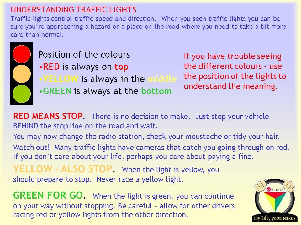 Transportation Tuesday UNDERSTANDING TRAFFIC LIGHTS Traffic lights control traffic speed and direction.