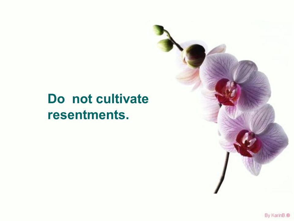 Do not cultivate resentments.