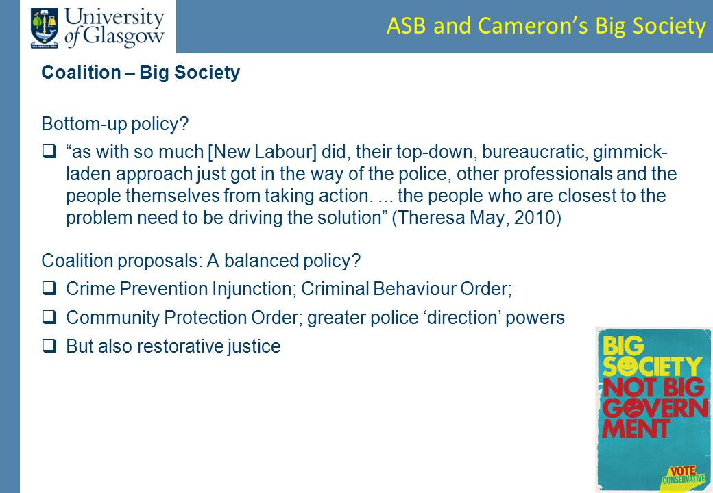 ASB and Cameron's Big Society Coalition – Big Society Bottom-up policy.