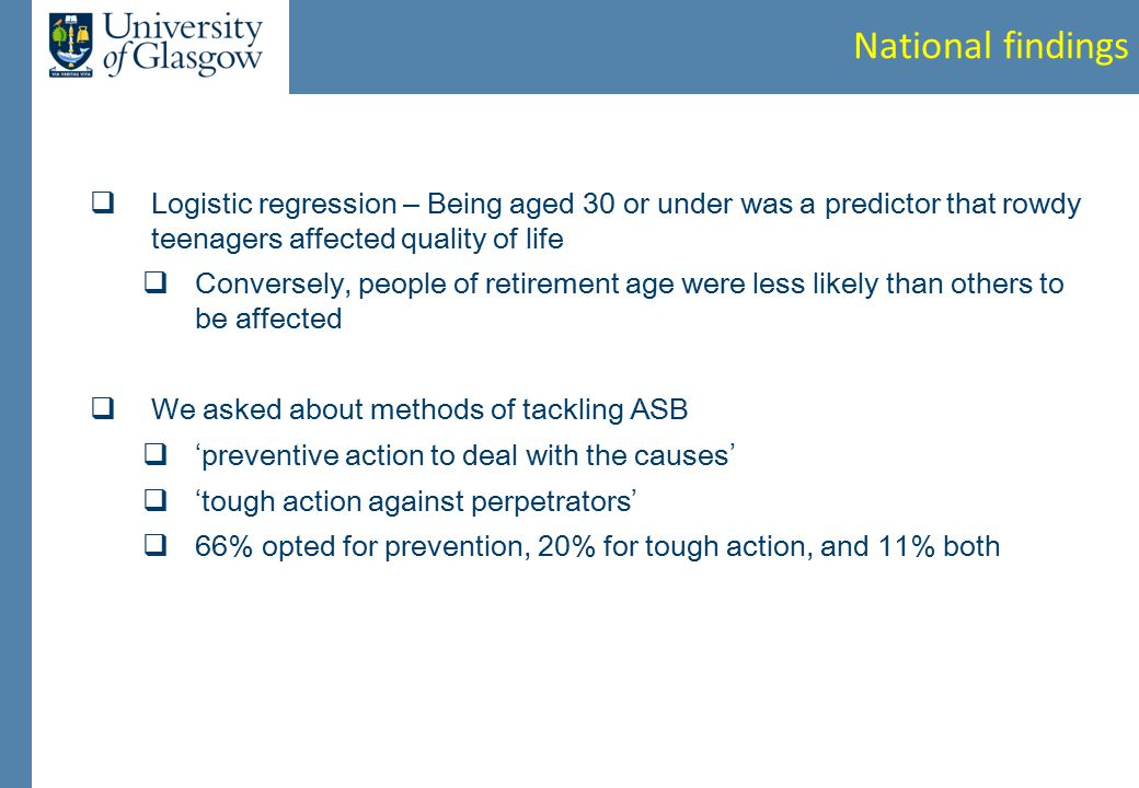 National findings  Logistic regression – Being aged 30 or under was a predictor that rowdy teenagers affected quality of life  Conversely, people of retirement age were less likely than others to be affected  We asked about methods of tackling ASB  ' preventive action to deal with the causes '  ' tough action against perpetrators '  66% opted for prevention, 20% for tough action, and 11% both