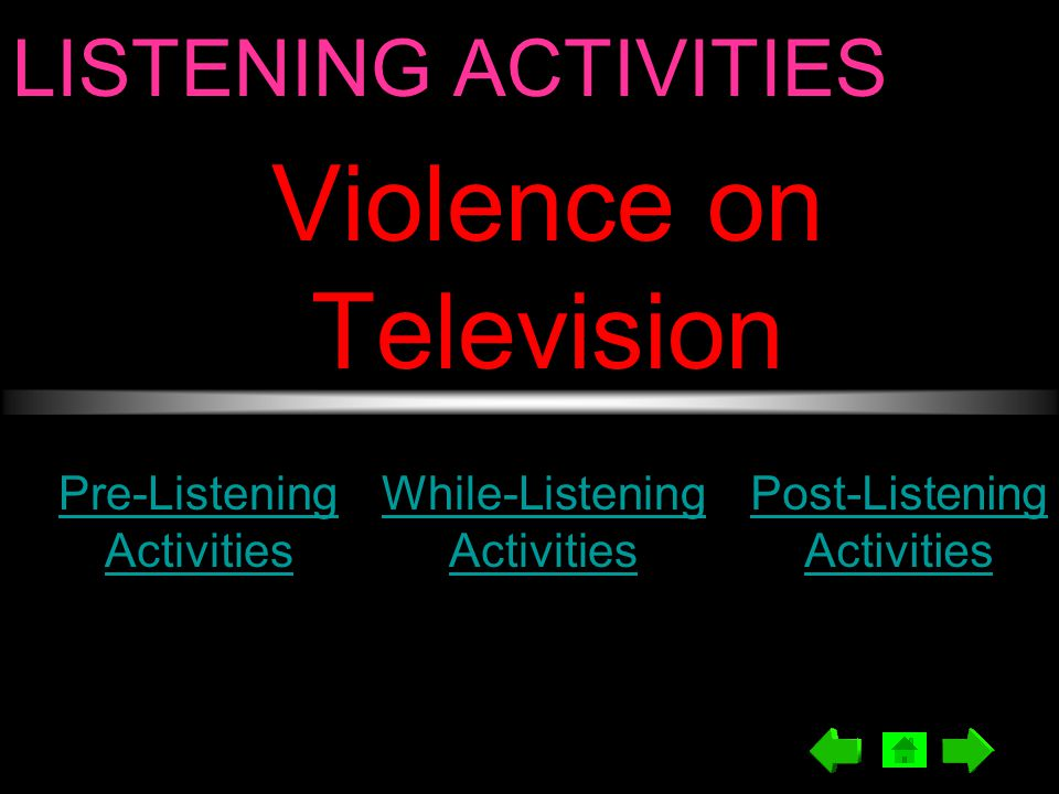 LISTENING ACTIVITIES Violence on Television Pre-Listening Activities While-Listening Activities Post-Listening Activities