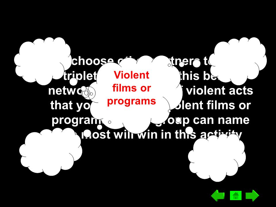 Again, choose other partners to form triplet-group. Fill in this below network: What kinds of violent acts that you can see in violent films or progra