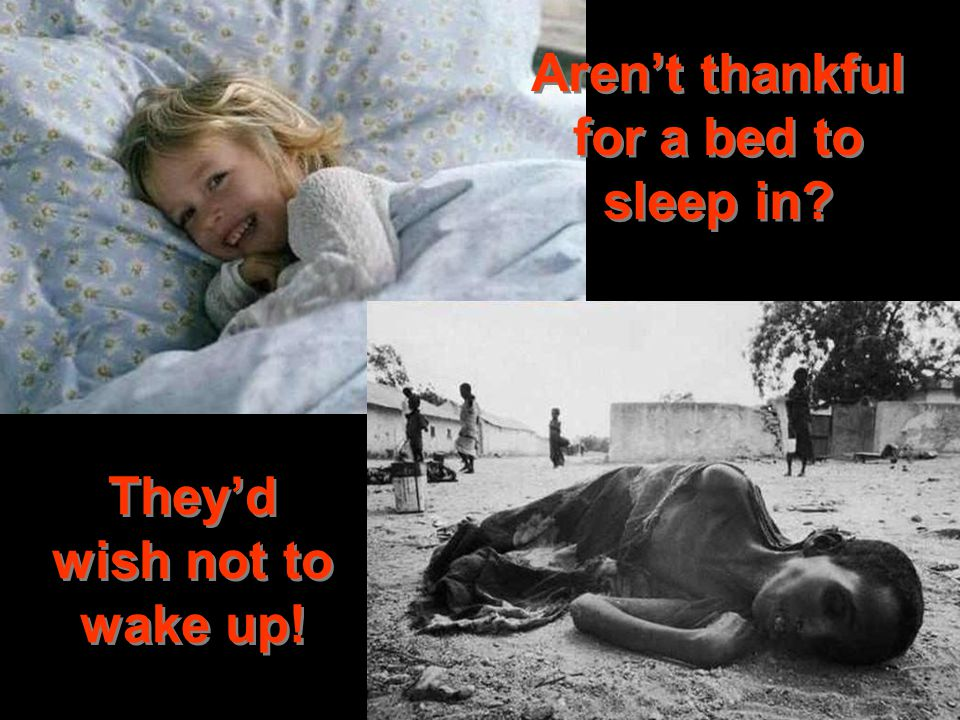 Aren't thankful for a bed to sleep in They'd wish not to wake up!