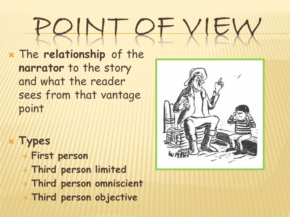  The relationship of the narrator to the story and what the reader sees from that vantage point  Types  First person  Third person limited  Third person omniscient  Third person objective
