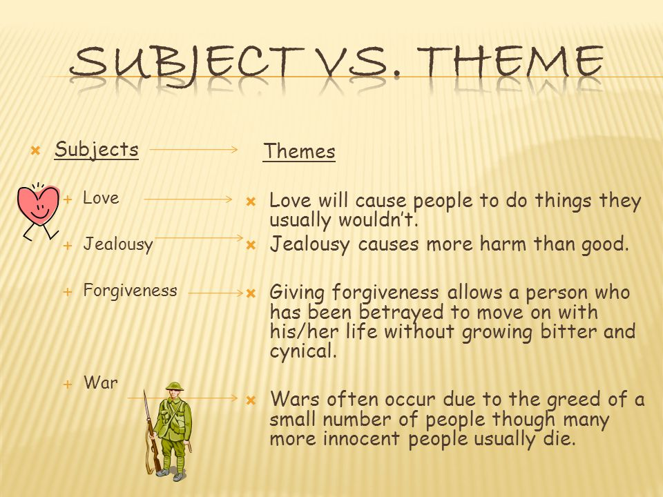  Subjects  Love  Jealousy  Forgiveness  War Themes  Love will cause people to do things they usually wouldn't.