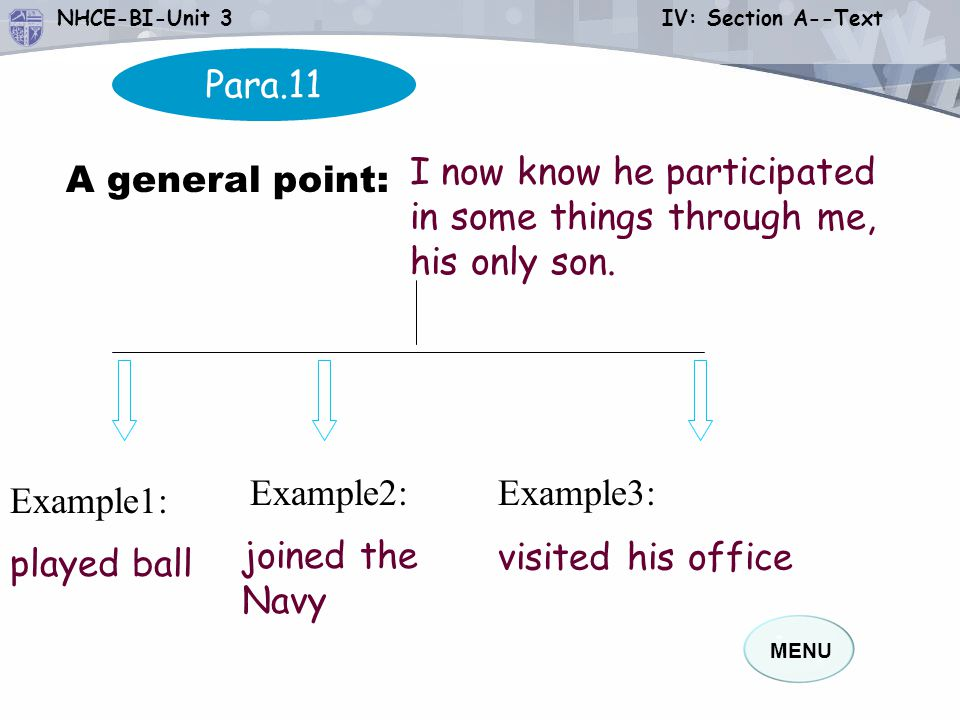 MENU NHCE-BI-Unit 3 IV: Section A--Text Para.11 Example3: A general point: I now know he participated in some things through me, his only son.