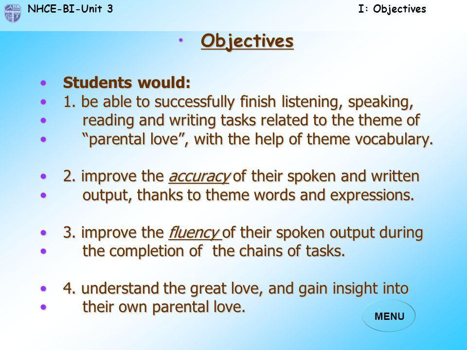 NHCE-BI-Unit 3 I: Objectives MENU ObjectivesObjectives Students would:Students would: 1.