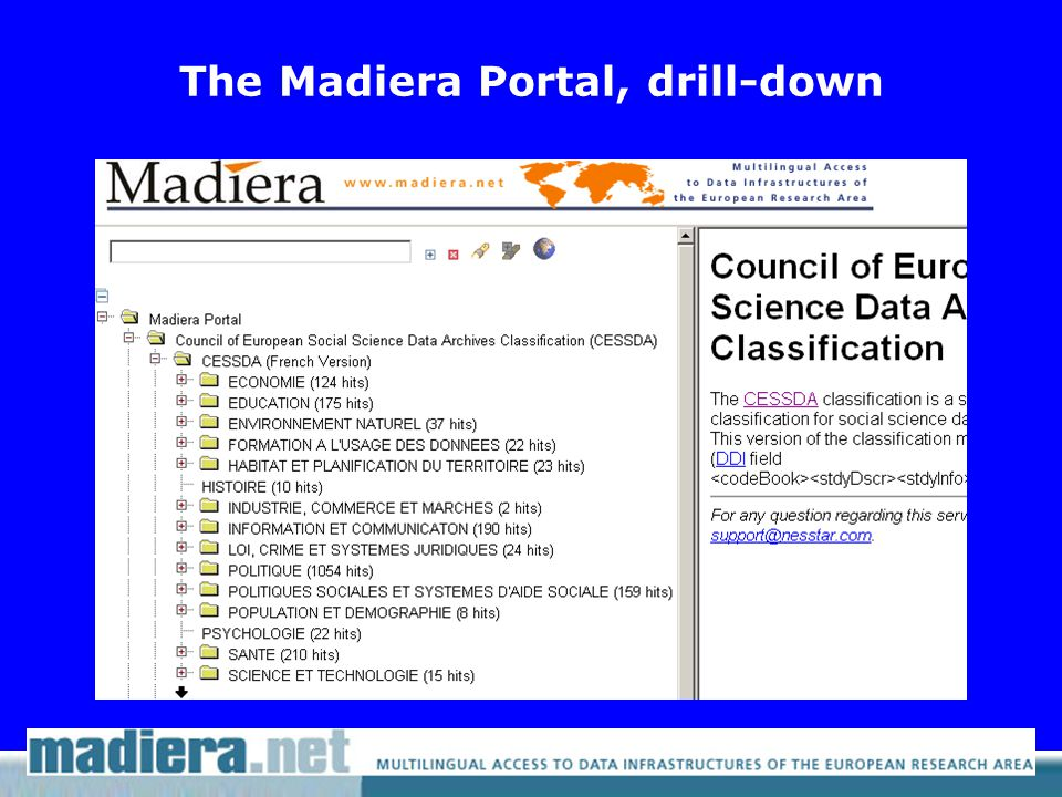 The Madiera Portal, drill-down