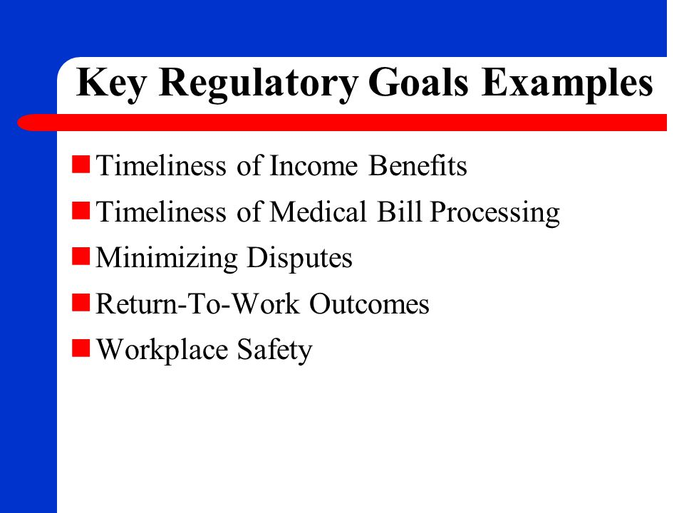 Key Regulatory Goals Examples Timeliness of Income Benefits Timeliness of Medical Bill Processing Minimizing Disputes Return-To-Work Outcomes Workplac