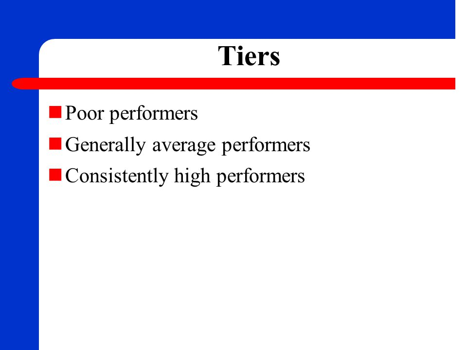 Tiers Poor performers Generally average performers Consistently high performers