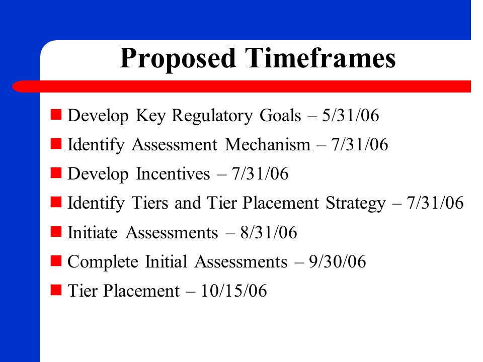 Proposed Timeframes Develop Key Regulatory Goals – 5/31/06 Identify Assessment Mechanism – 7/31/06 Develop Incentives – 7/31/06 Identify Tiers and Tie