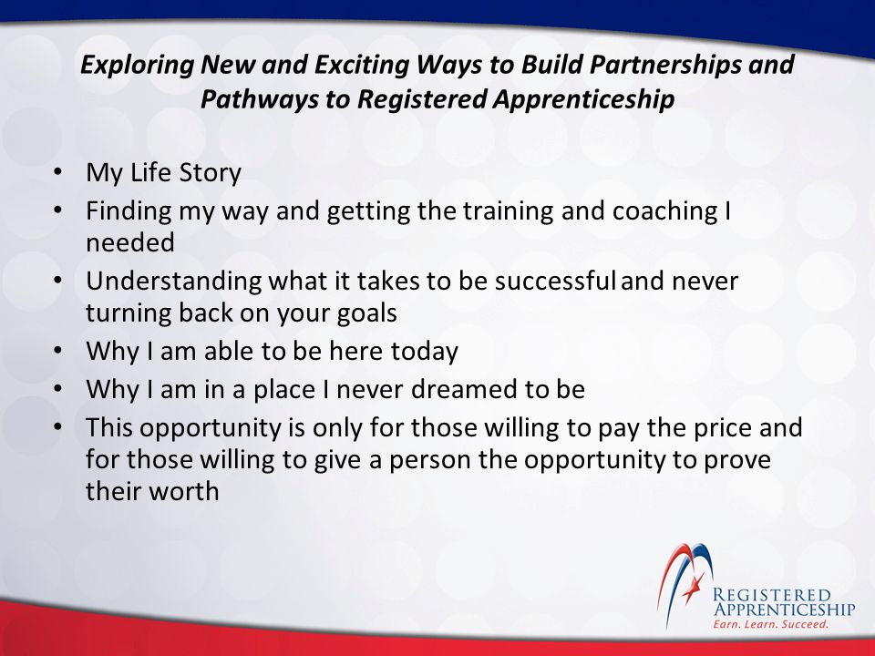 Click to edit Master title style Click to edit Master subtitle style Exploring New and Exciting Ways to Build Partnerships and Pathways to Registered Apprenticeship Thank you!