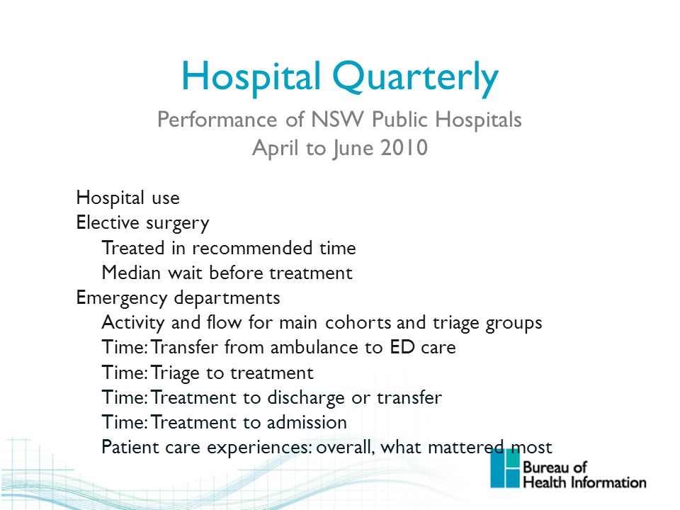 Hospital Quarterly Performance of NSW Public Hospitals April to June 2010 Hospital use Elective surgery Treated in recommended time Median wait before