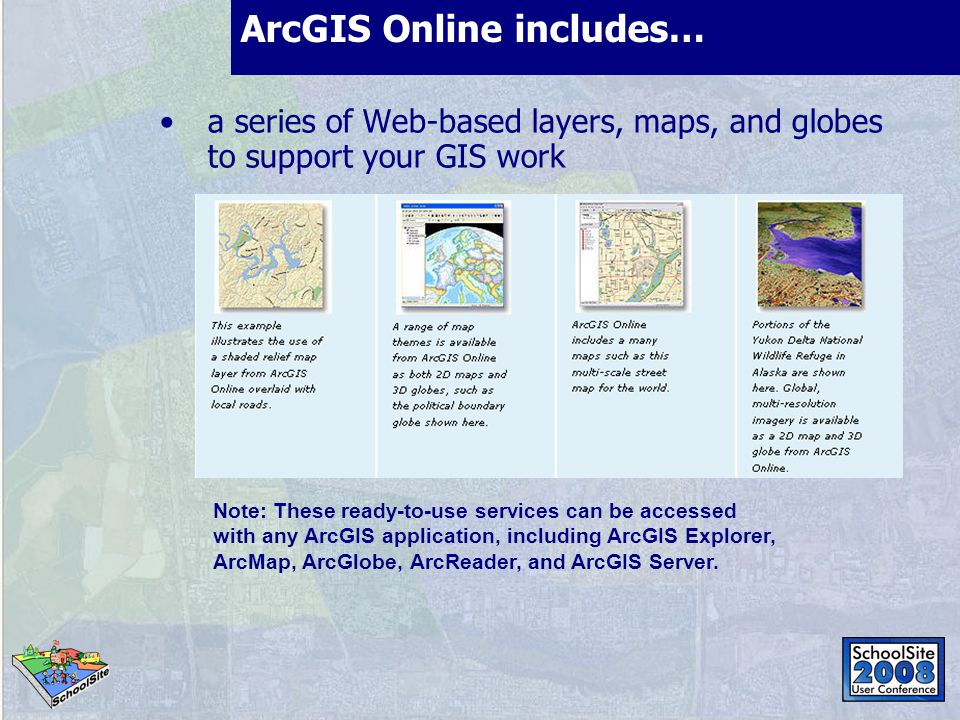 ArcGIS Online includes… a series of Web-based layers, maps, and globes to support your GIS work Online tasks in software Find tool Find Route service Find Nearby Places service