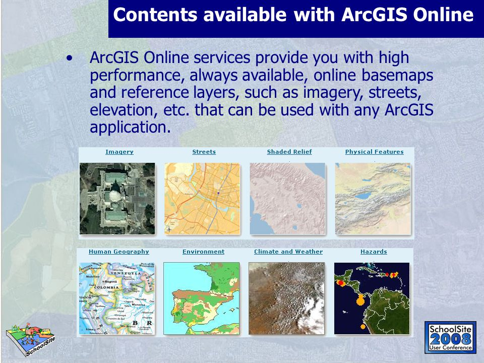 Contents available with ArcGIS Online