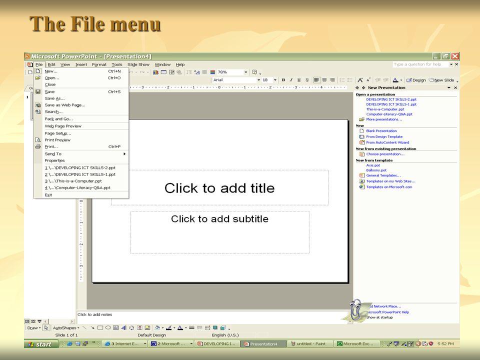 The File menu