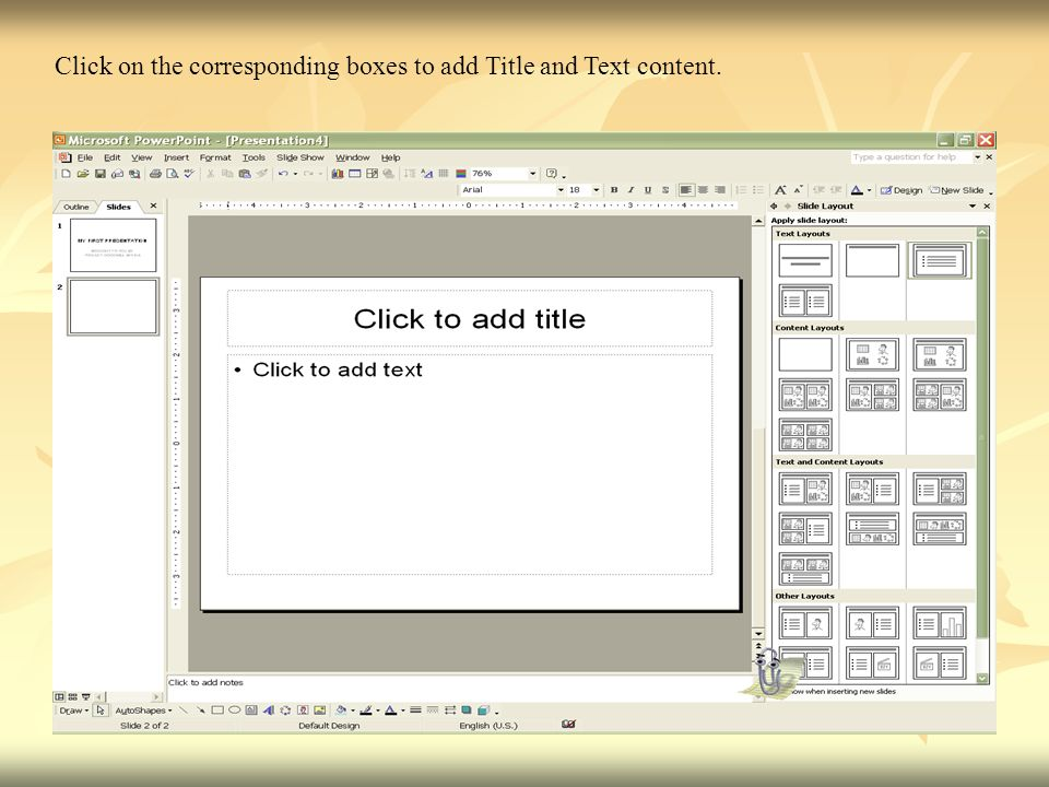 Click on the corresponding boxes to add Title and Text content.