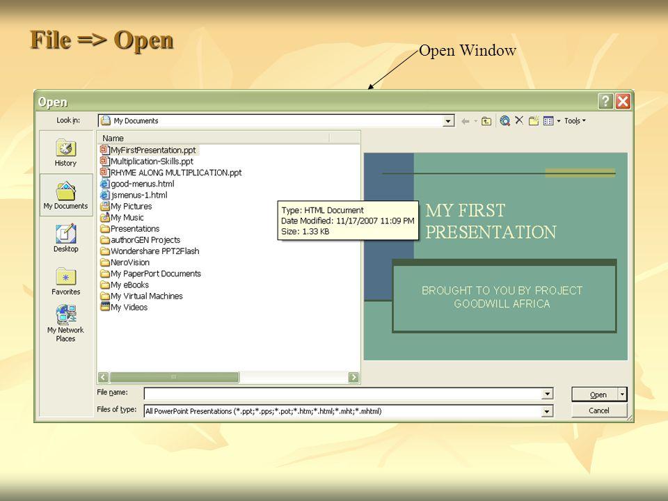 File => Open Open Window