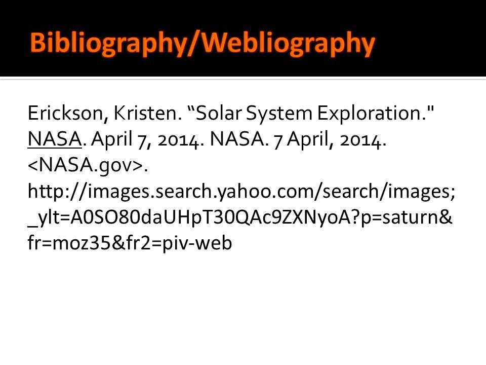 Erickson, Kristen. Solar System Exploration. NASA.