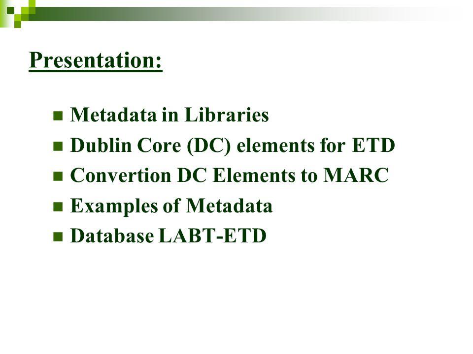 DUBLIN CORE (DC) ELEMENTS for ETD dc.title dc.creator dc.subject dc.description dc.publisher dc.contributor dc.date dc.type dc.format dc.identifier dc.language dc.coverage dc.rights dc.thesis.degreethesis.degree