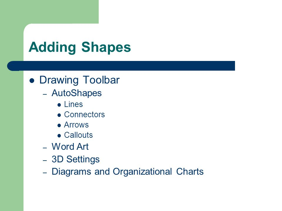 Adding Shapes Drawing Toolbar – AutoShapes Lines Connectors Arrows Callouts – Word Art – 3D Settings – Diagrams and Organizational Charts