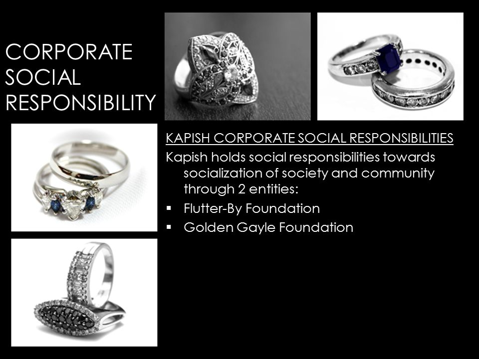 KAPISH CORPORATE SOCIAL RESPONSIBILITIES Kapish holds social responsibilities towards socialization of society and community through 2 entities:  Flutter-By Foundation  Golden Gayle Foundation CORPORATE SOCIAL RESPONSIBILITY