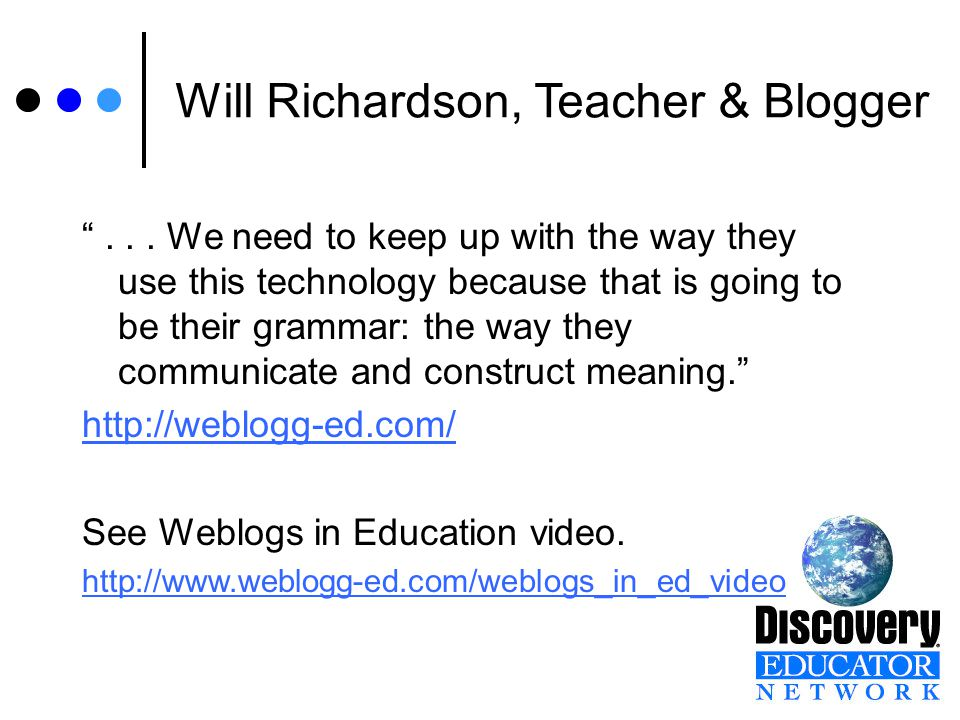 Will Richardson, Teacher & Blogger ...