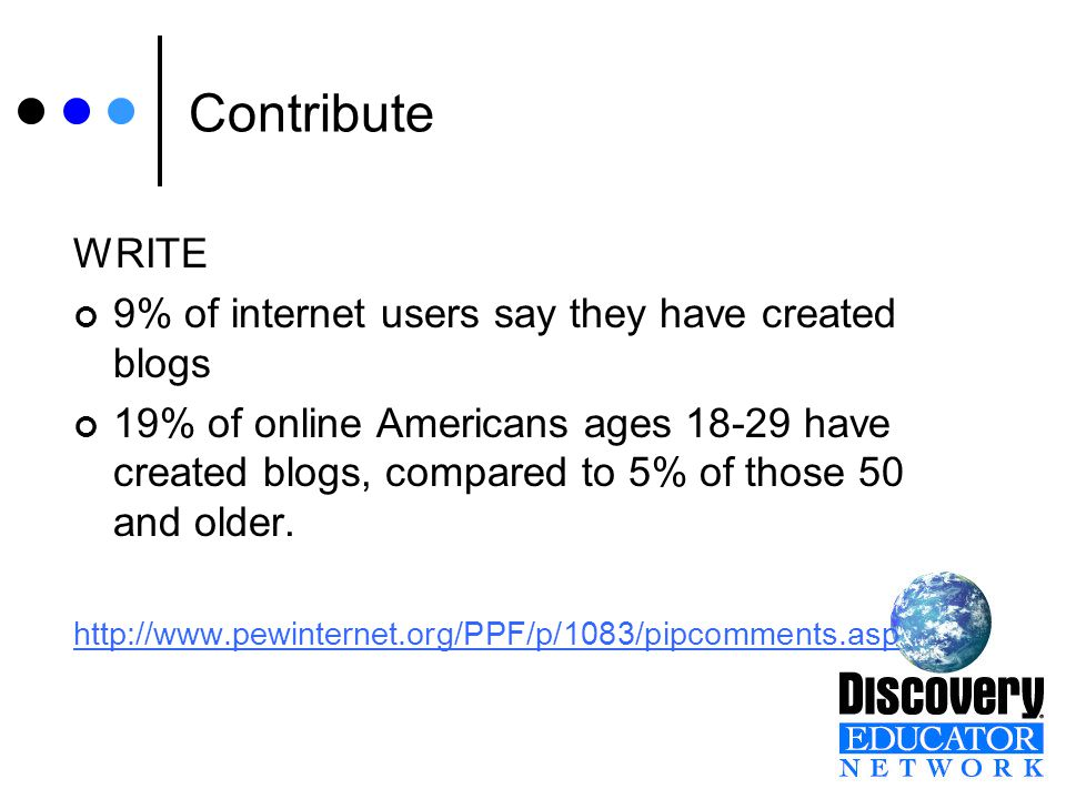 Contribute WRITE 9% of internet users say they have created blogs 19% of online Americans ages 18-29 have created blogs, compared to 5% of those 50 and older.