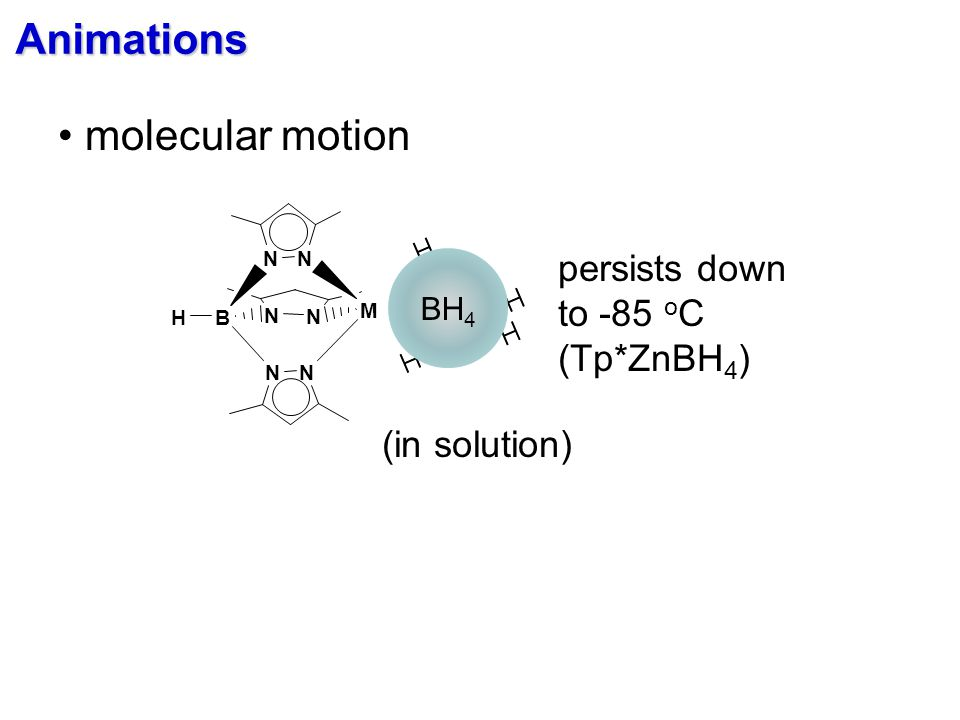 BH 4 (in solution) N N N N B N N H M persists down to -85 o C (Tp*ZnBH 4 ) Animations molecular motion