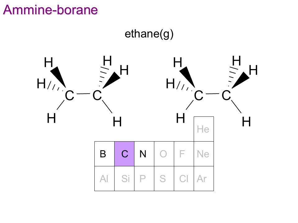 NOFNeBC He PSClArAlSiAmmine-borane ethane(g) C C H H H H H H C C H H H H H H