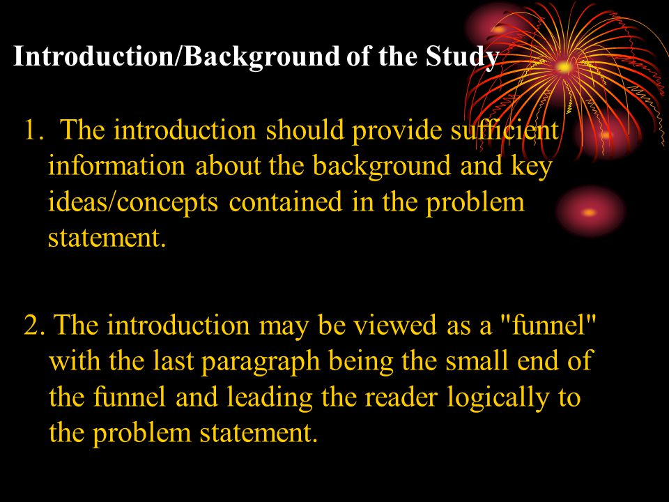 Introduction/Background of the Study 1.